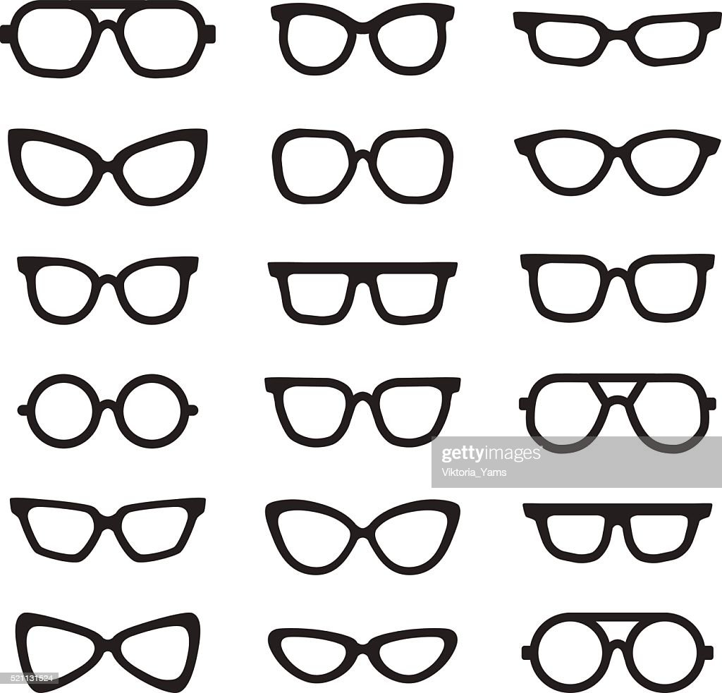 Eyeglasses black silhouettes vector icons set. Minimalistic design.