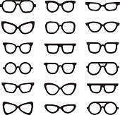 Eyeglasses black silhouettes vector icons set. Minimalistic design.