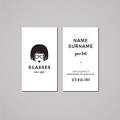 Eyeglasses business card design concept. Bob hair woman in glasses.