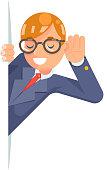 Eyeglasses eavesdropping ear hand listen overhear spy out wcartoon male businessman isolated character flat design vector illustration