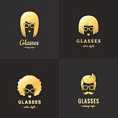 Eyeglasses gold logo vintage vector set (female and male).