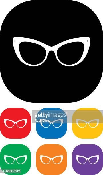 eyeglasses icon set 2 - cat's eye glasses stock illustrations