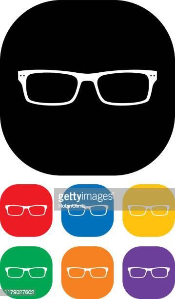 eyeglasses icon set 7 - horn rimmed glasses stock illustrations, clip art, cartoons, & icons