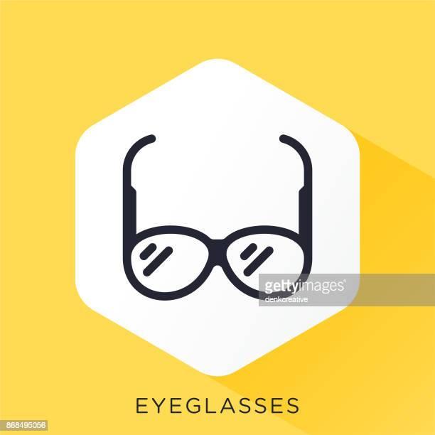 eyeglasses icon - horn rimmed glasses stock illustrations, clip art, cartoons, & icons