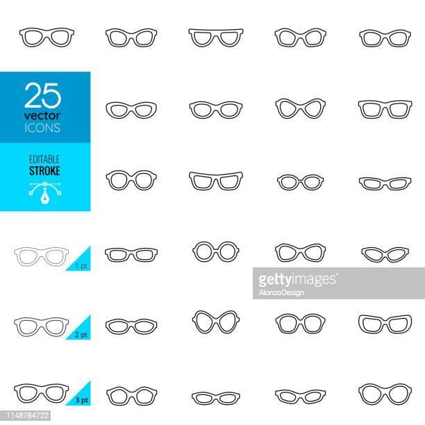 eyeglasses icons. editable stroke. - eyeglasses stock illustrations