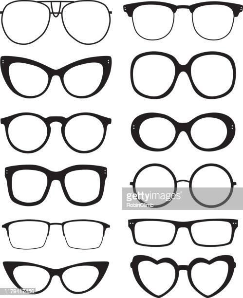 illustrazioni stock, clip art, cartoni animati e icone di tendenza di eyeglasses icons - occhiali da vista