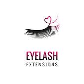 Eyelash extension with heart logo design.