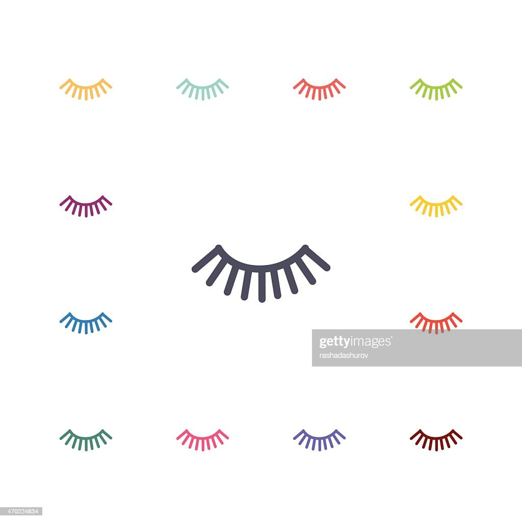 eyelash flat icons set