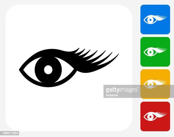 Eyelashes Icon Flat Graphic Design
