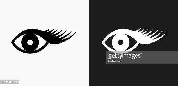 Eyelashes Icon on Black and White Vector Backgrounds