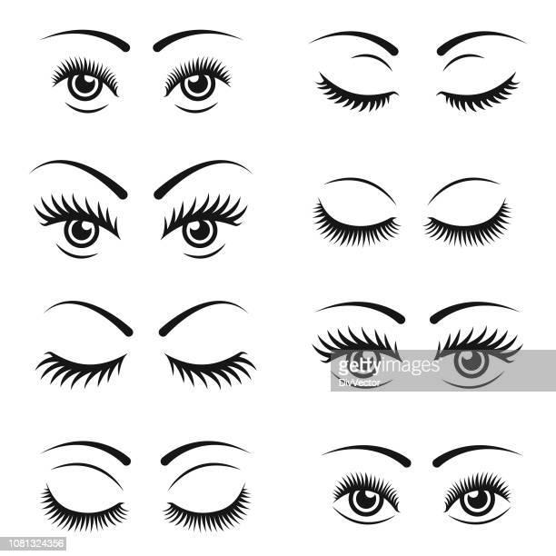 eyelashes icon set - eyelash stock illustrations