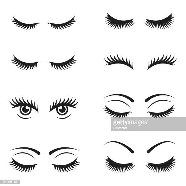 eyelashes icon set - eye make up stock illustrations