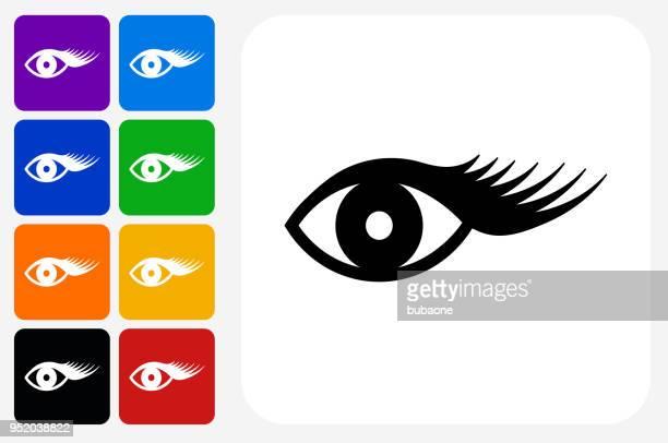 Eyelashes Icon Square Button Set