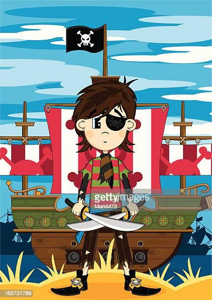 Eyepatch Pirate Girl & Ship