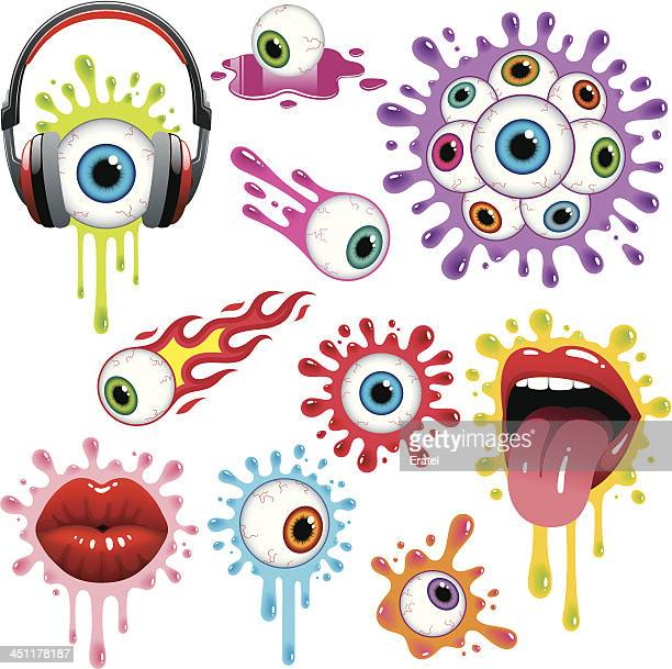 eyes and lips - slimy stock illustrations, clip art, cartoons, & icons