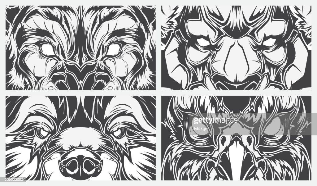 Line Art Animals Tattoo : Eyes dangerous animals tattoo style vector background art