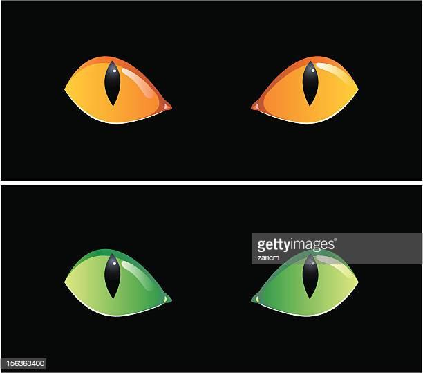 eyes in dark - animal eye stock illustrations