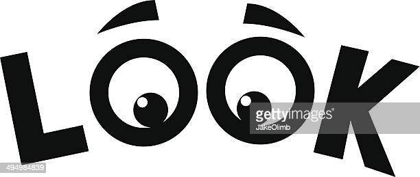 look eyes - looking stock illustrations