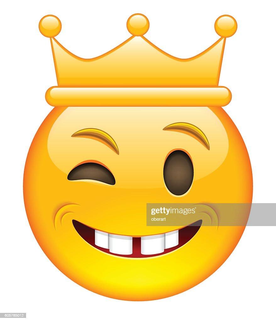 Eyewink Face with Crown. Eyewink Emoji with Crown