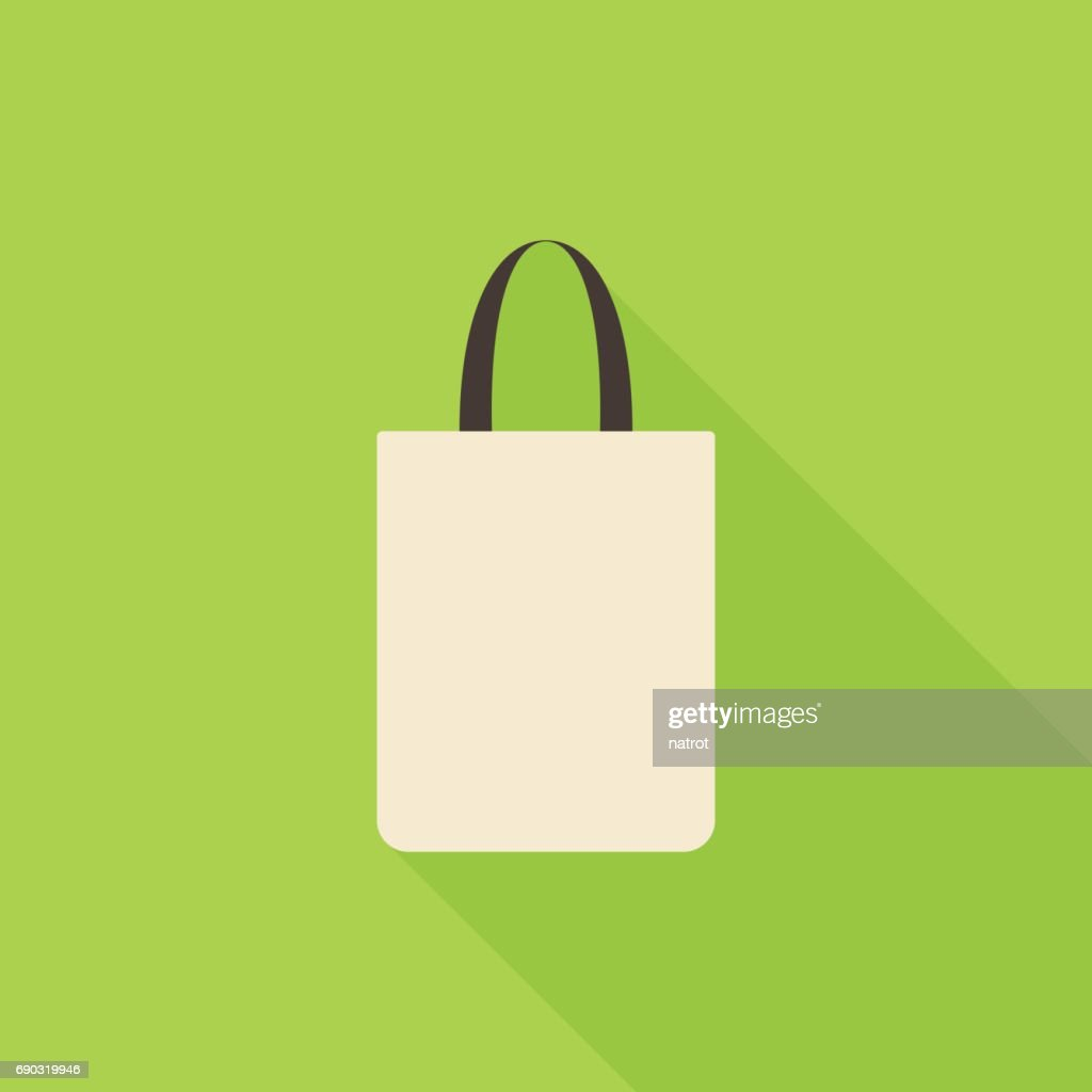 Fabric bag icon with long shadow on green background, flat design style