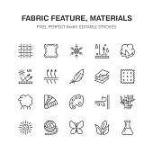 Fabric feature, clothes material vector flat line icons. Garment property symbols. Cotton wool, waterproof, wind resistant, uv protection. Wear label, textile industry pictogram. Pixel perfect 64x64
