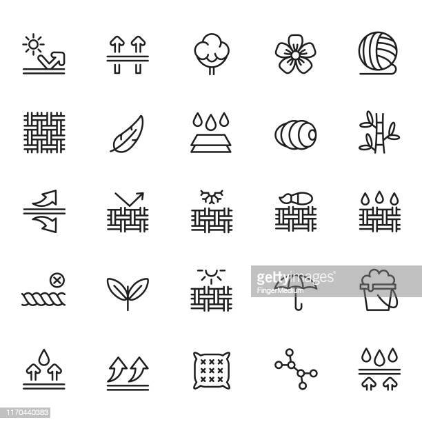 fabric feature icon set - textile stock illustrations