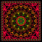 Fabric print for scarf with colored floral ornament. vector illustration.