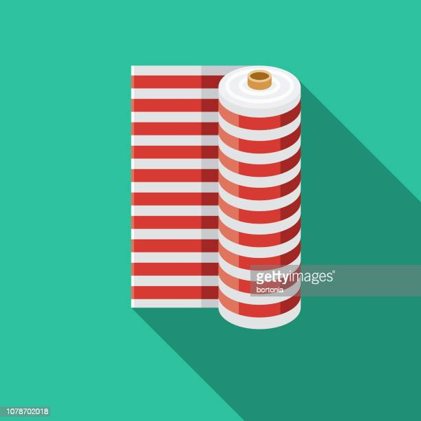 fabric roll flat design sewing icon - rolled up stock illustrations