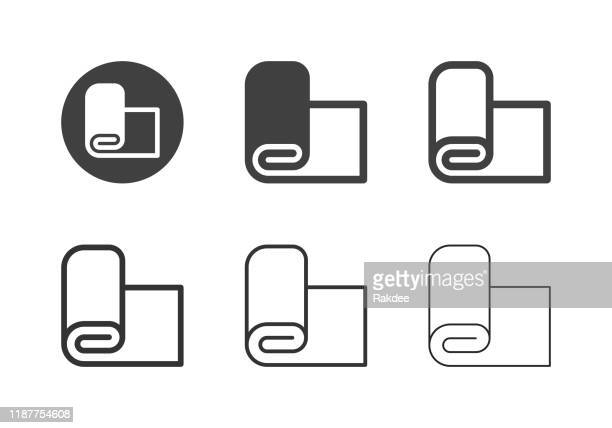 fabric roll icons - multi series - textile industry stock illustrations