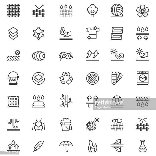 fabric technology icon set - membrane stock illustrations