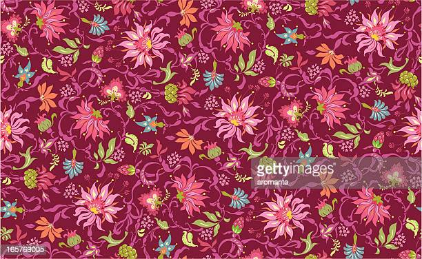 fabulous flowers - tapestry stock illustrations