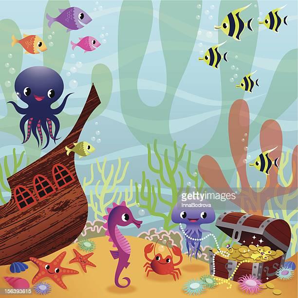 ilustrações de stock, clip art, desenhos animados e ícones de fabuloso vida subaquática. - cavalo marinho