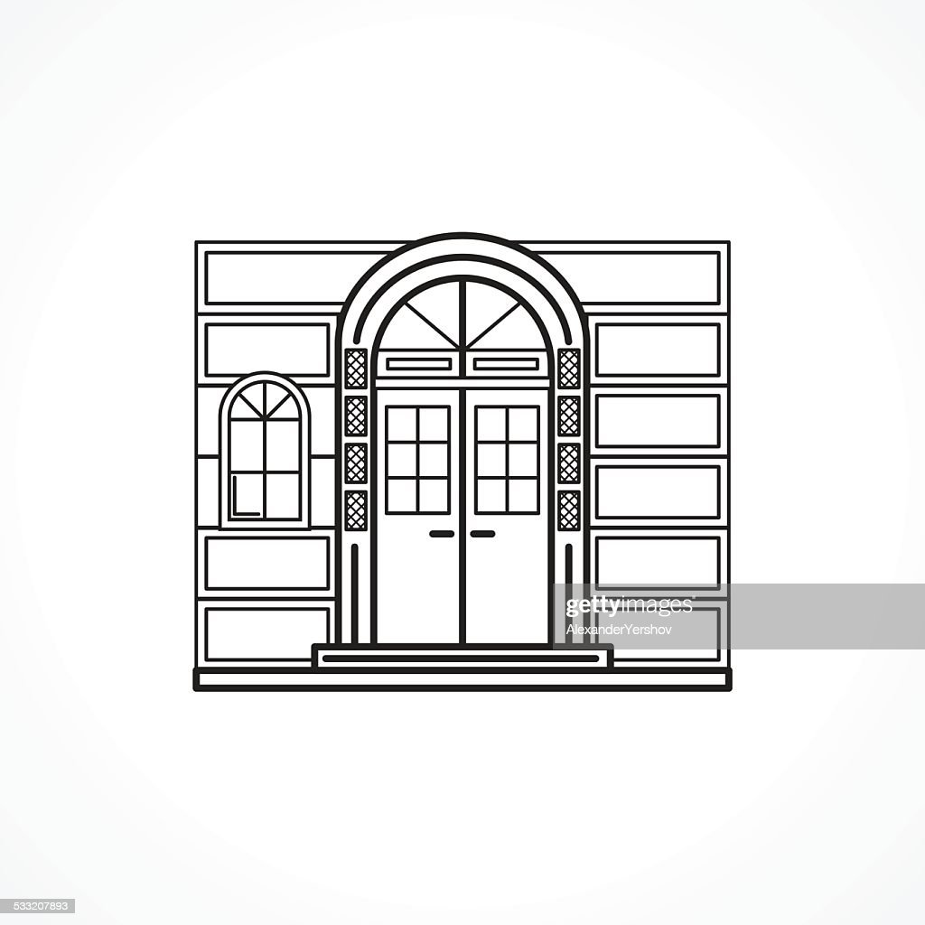 Facade arch door black line vector icon