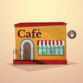 Facade cafe, vector illustration