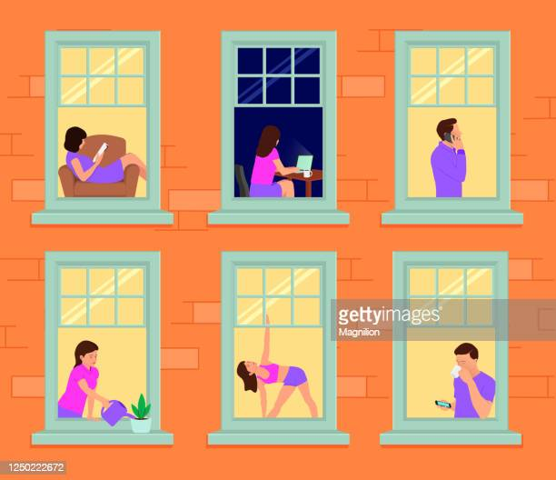 facade of a house with windows and people in them. man and woman in the windows - window stock illustrations