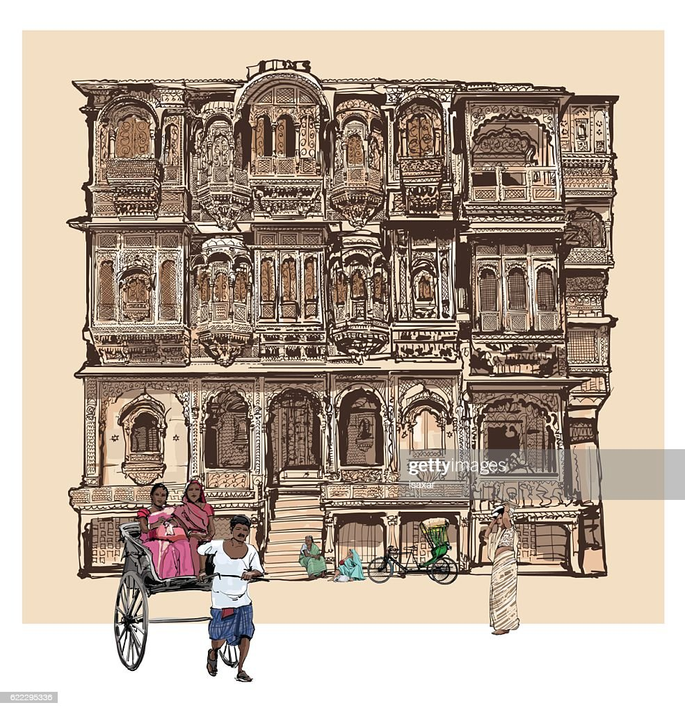 Facade of old house with balconies in Jodhpur, India