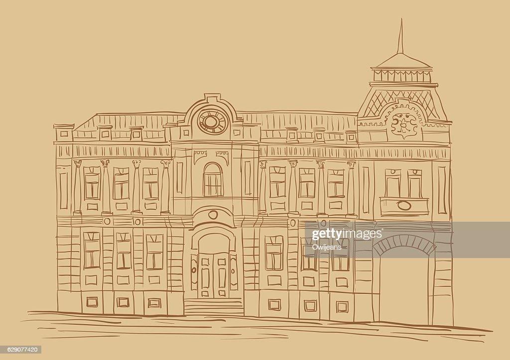 Facade of the apartment house. Ukrainian Baroque, Kiev