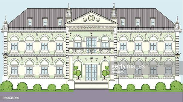 facade of the building in classical european style - classical architectural style stock illustrations, clip art, cartoons, & icons