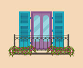Facade of the vintage house with balconies. Vector flat illustration