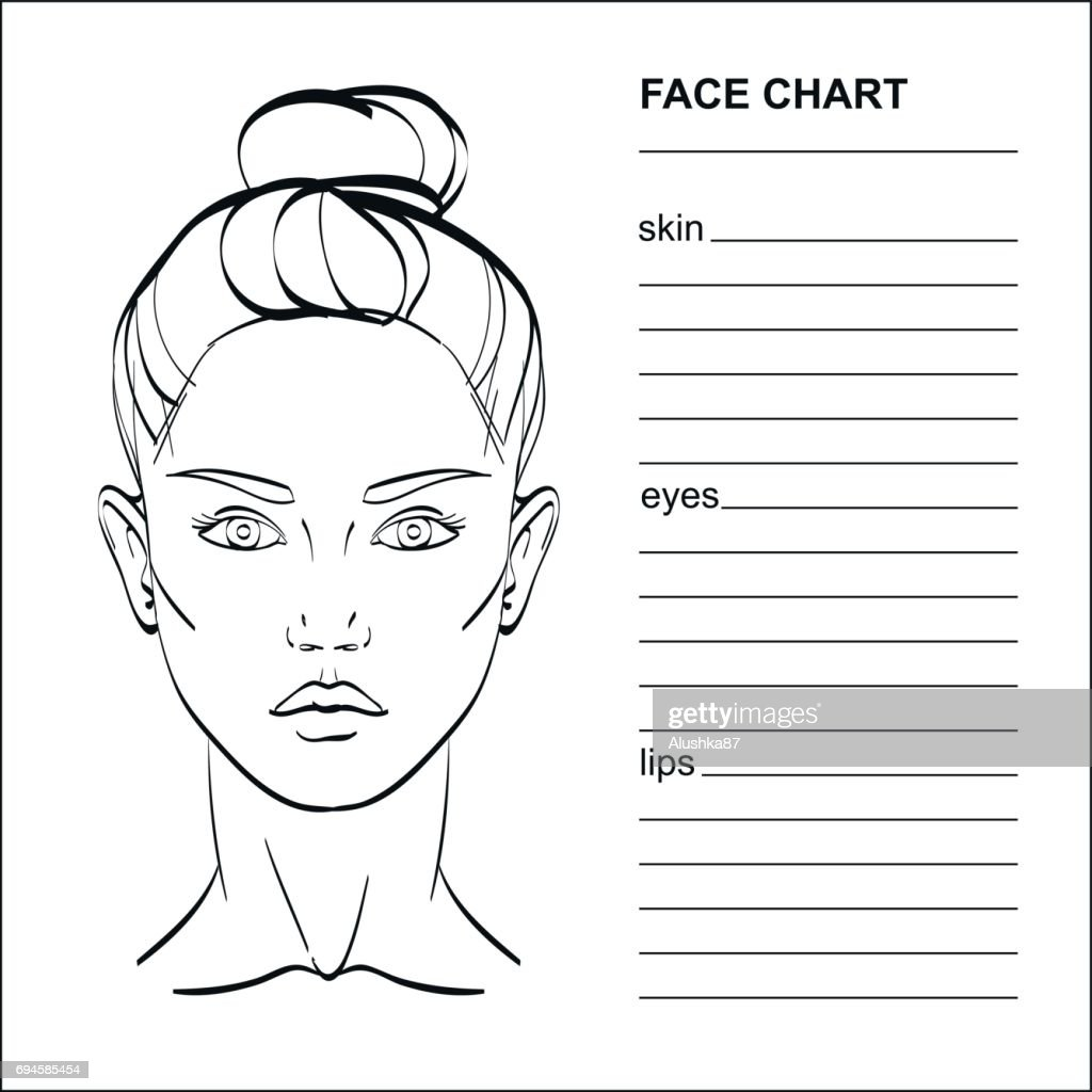 Face chart Makeup Artist Blank.