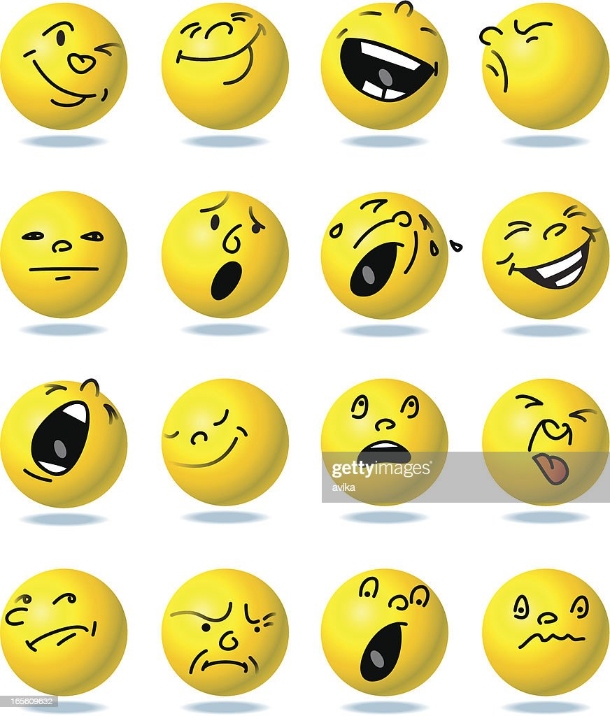 Face emotions buttons : stock illustration