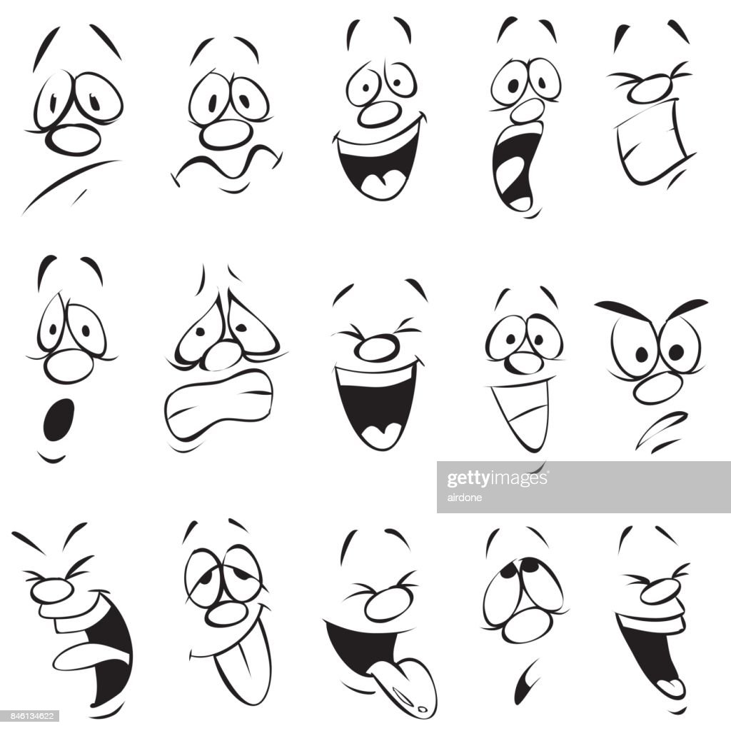 Face Expressions Cartoon Doodle Back And White Outline High Res Vector Graphic Getty Images