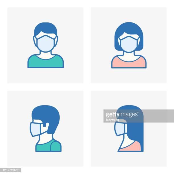ilustrações, clipart, desenhos animados e ícones de máscara facial, ícone de máscara médica - uma pessoa