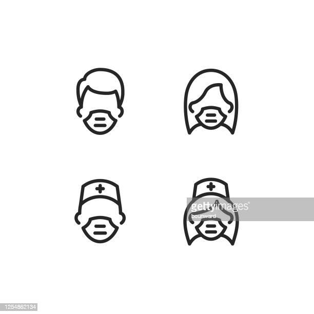 face mask medical mask outline icon editable stroke - surgeon stock illustrations