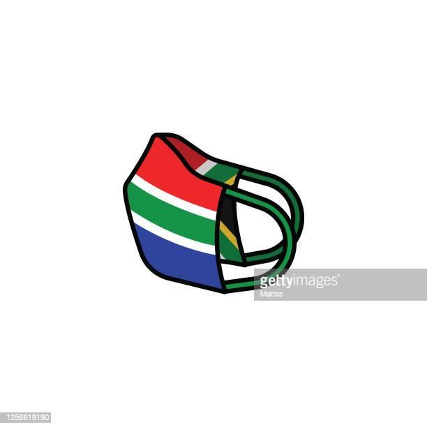 illustrations, cliparts, dessins animés et icônes de masque de visage avec le drapeau de l'afrique du sud. - masque africain