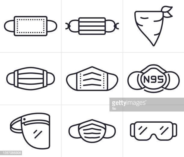 face masks, coverings and ppe personal protective equipment symbols and icons - obscured face stock illustrations