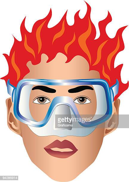 Face of a diver with mask