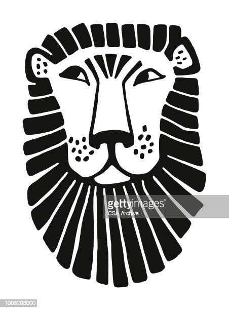 face of a lion - wildcat animal stock illustrations, clip art, cartoons, & icons