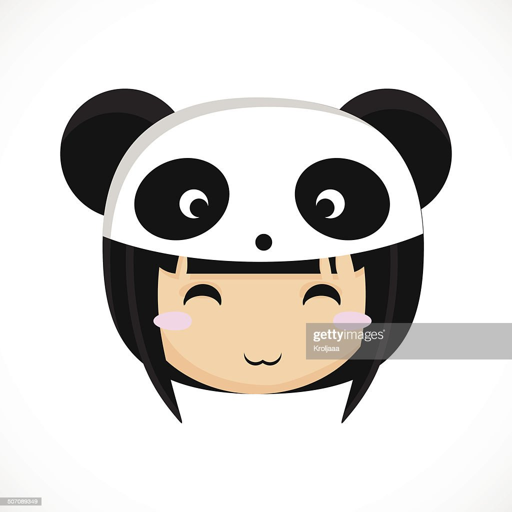 Face of a little cute girl in costume panda. Illustration.