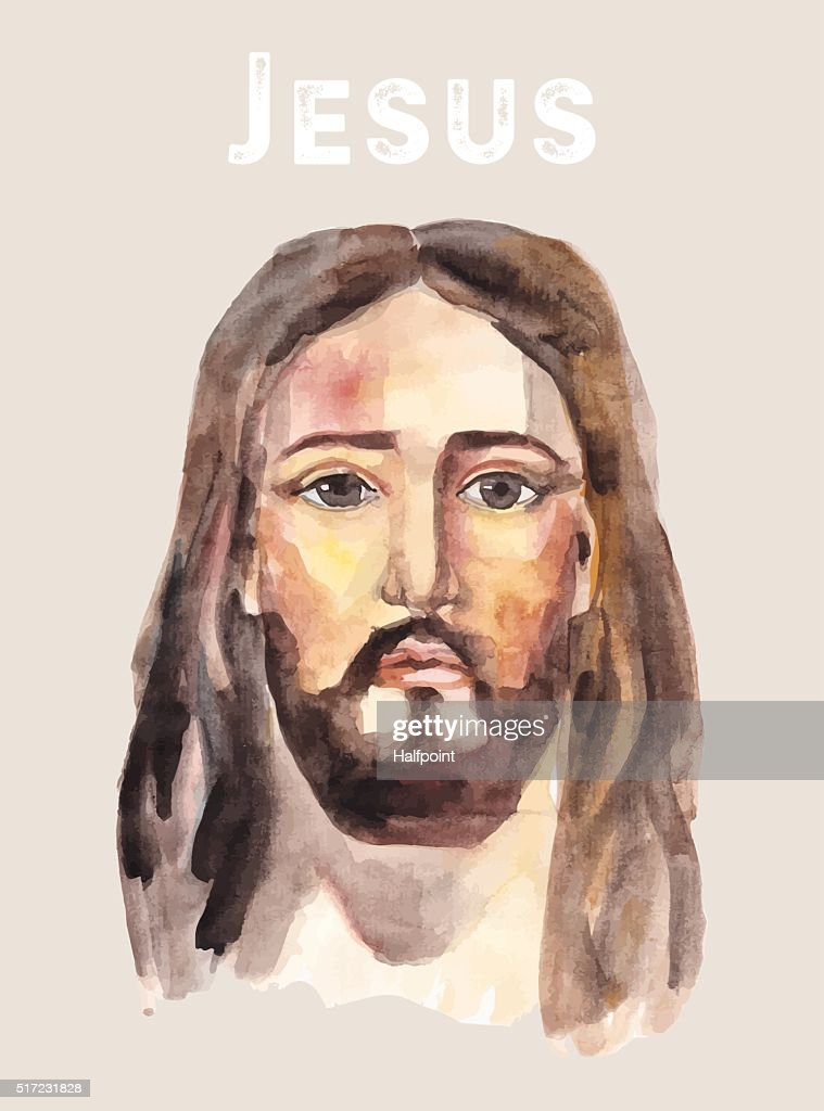 Face of Jesus Christ, watercolor vector illustration.
